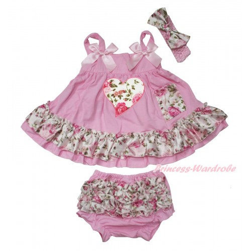 Valentine's Day Light Pink & Rose Swing Top Light Pink Bow & Light Pink Rose Heart matching Panties Bloomers SP28