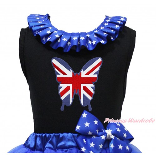 Black Tank Top Patriotic American Star Lacing & Patriotic British Butterfly Print TB1203