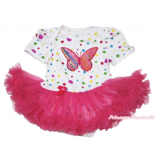 White Rainbow Dots Baby Jumpsuit Hot Pink Pettiskirt with Rainbow Butterfly Print JS108