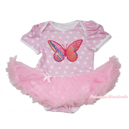Light Pink White Polka Dots Baby Jumpsuit Light Pink Pettiskirt with Rainbow Butterfly Print JS166
