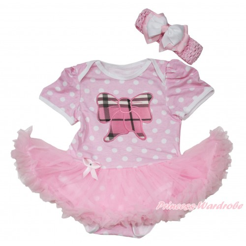 Light Pink White Polka Dots Baby Jumpsuit Light Pink Pettiskirt With Light Pink Checked Butterfly Print With Light Pink Headband White & Light Pink White Dots Ribbon Bow JS189