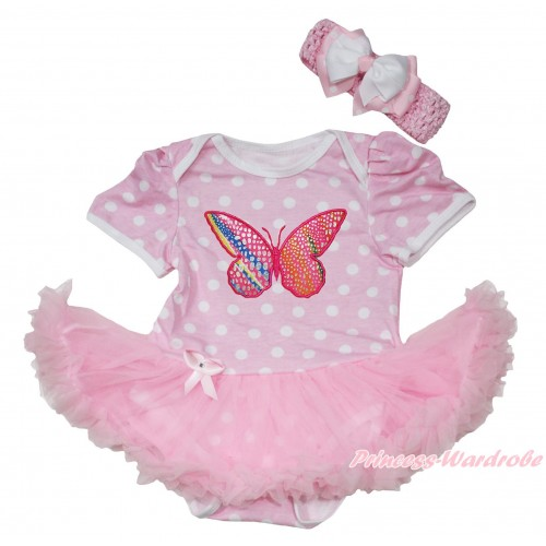 Light Pink White Polka Dots Baby Jumpsuit Light Pink Pettiskirt With Rainbow Butterfly Print With Light Pink Headband White & Light Pink White Dots Ribbon Bow JS192