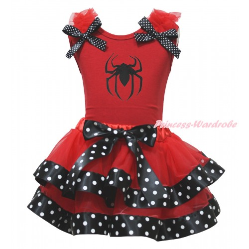 Halloween Red Tank Top Red Ruffles Black White Dots Bow & Spider Print & Red Black White Dots Trimmed Pettiskirt MG1765