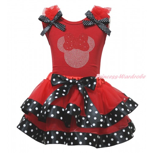 Red Baby Pettitop Red Ruffles Black White Dots Bow & Rhinestone Red Minnie Print & Red Black White Dots Trimmed Baby Pettiskirt NG1757