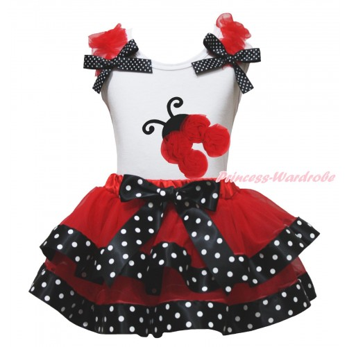 White Baby Pettitop Red Ruffles Black White Dots Bows & Red Rosettes Beetle Print & Red Black White Dots Trimmed Newborn Pettiskirt NG1785
