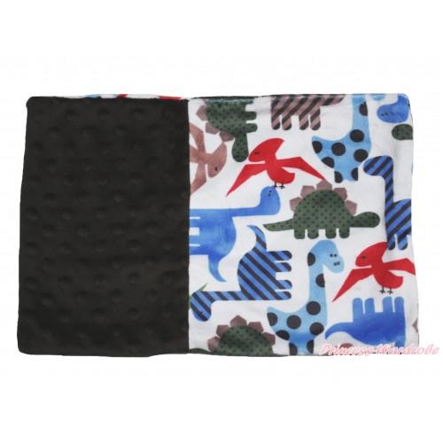 Dinosaur Brown Baby Infant Minky Dots Pillowcase BI46