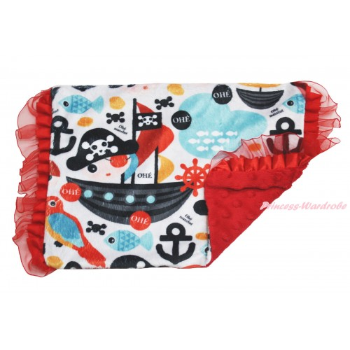 Ocean Anchor Red Ruffles Baby Infant Minky Dots Pillowcase BI49