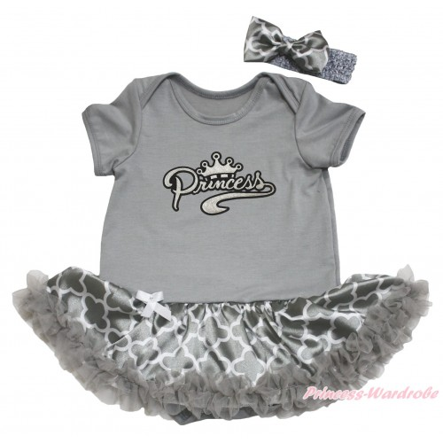 Grey Baby Bodysuit Grey White Quatrefoil Clover Pettiskirt & Sparkle Grey Princess Print JS4617