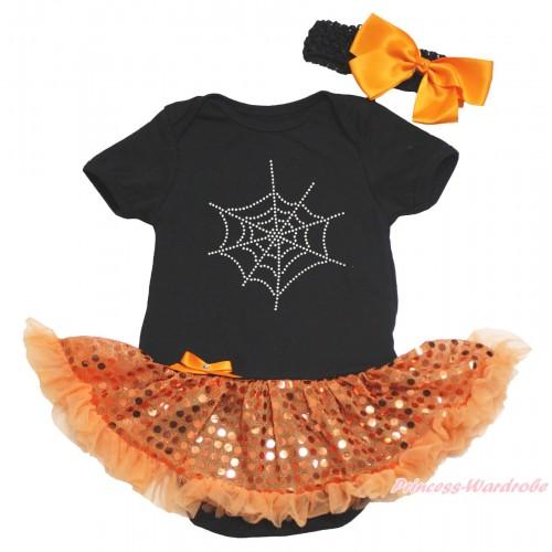 Halloween Black Baby Bodysuit Bling Orange Sequins Pettiskirt & Sparkle Rhinestone Spider Web Print JS4626