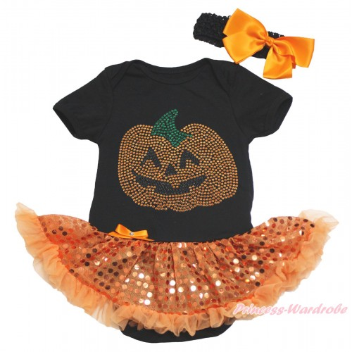 Halloween Black Baby Bodysuit Bling Orange Sequins Pettiskirt & Sparkle Rhinestone Orange Pumpkin Print JS4627