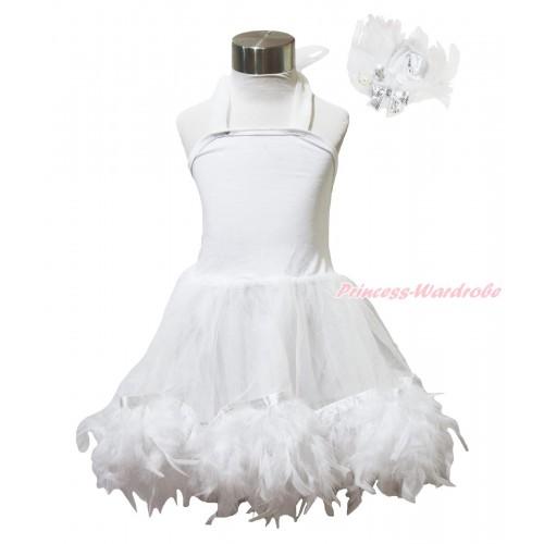 White Feather ONE-PIECE Halter Dress LP218