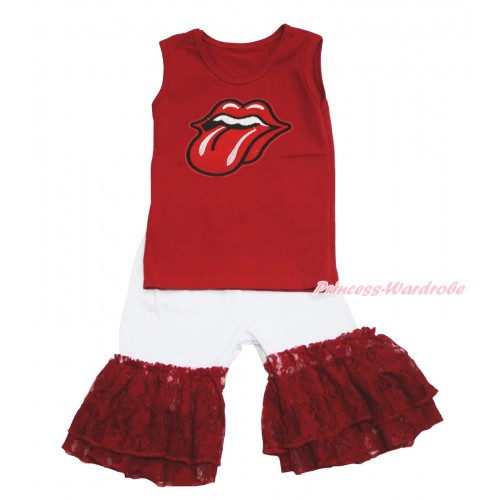 Red Tank Top Big Red Mouth Print & White Cotton Short Pantie & Red Lace Ruffles P049