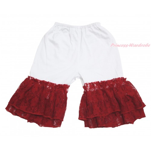 White Cotton Short Pantie & Red Lace Ruffles PS023