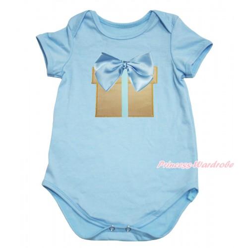 Light Blue Baby Jumpsuit & Light Blue Bow Gift Print TH604
