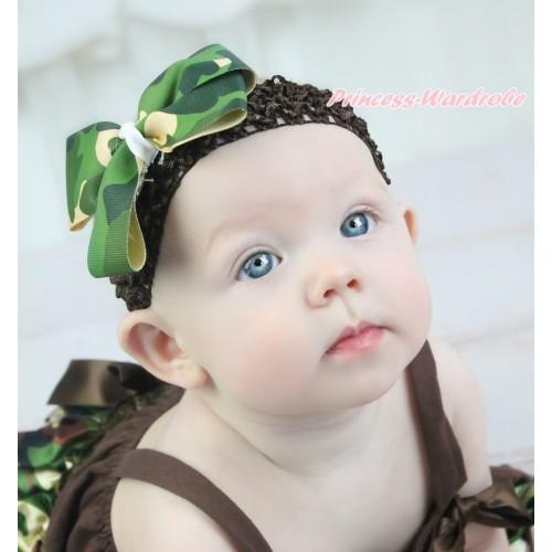 Brown Headband & Camouflage Ribbon Bow Hair Clip H1034