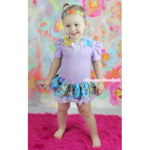 Lavender Baby Bodysuit Peacock Blue Butterfly Pettiskirt & Lavender Lacing & 3D Sparkle Yellow White Blue Butterfly Print JS4648