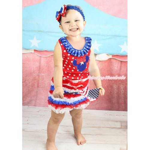 American's Birthday Minnie Dots Tank Top American Star Lacing & Patriotic American Star Minnie Print & Red White Royal Blue Ruffles Pettishort PS020