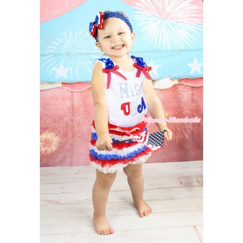 American's Birthday White Tank Top American Star Ruffles Minnie Dots Bow & Sparkle Rhinestone Miss USA Print & Red White Royal Blue Ruffles Pettishort PS021