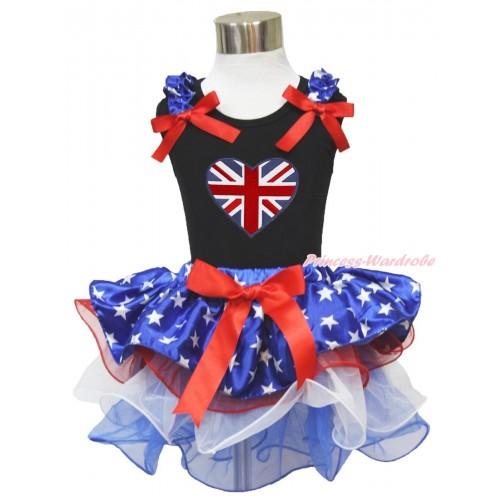 American's Birthday Black Tank Top Patriotic American Star Ruffles Red Bows & Patriotic Britich Heart Print & Red Bow Patriotic American Star Red White Blue Petal Pettiskirt MG1742