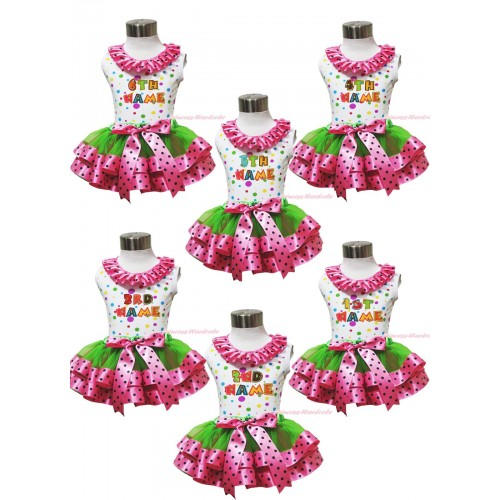 Personalize Custom White Rainbow Dots Tank Top Pink Black Dots Lacing & Birthday Baby Name & Dark Green Hot Pink Black Dots Trimmed Pettiskirt MG1749