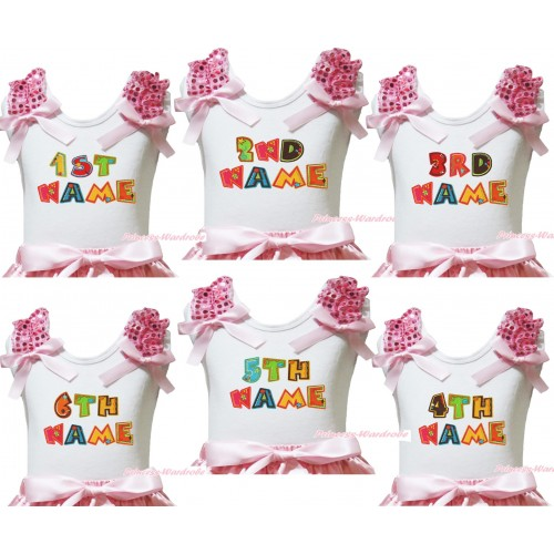 Personalize Custom White Tank Top Light Pink Sequins Ruffles Light Pink Bow & Birthday Baby Name TB1223