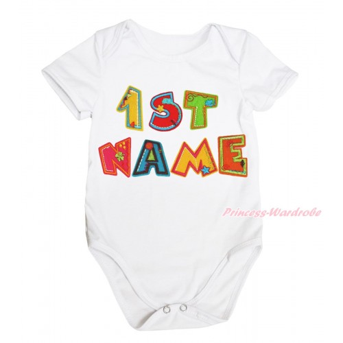 Personalize Custom White Baby Jumpsuit & Birthday Baby Name TH586