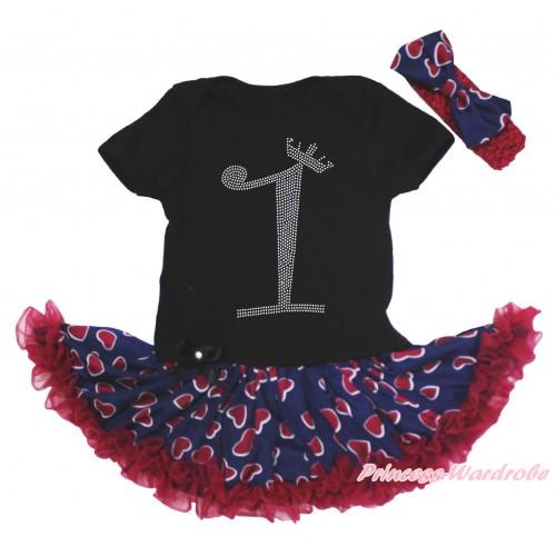 Black Baby Bodysuit Blue Red Heart Pettiskirt & 1st Sparkle Rhinestone Birthday Number Print JS4673