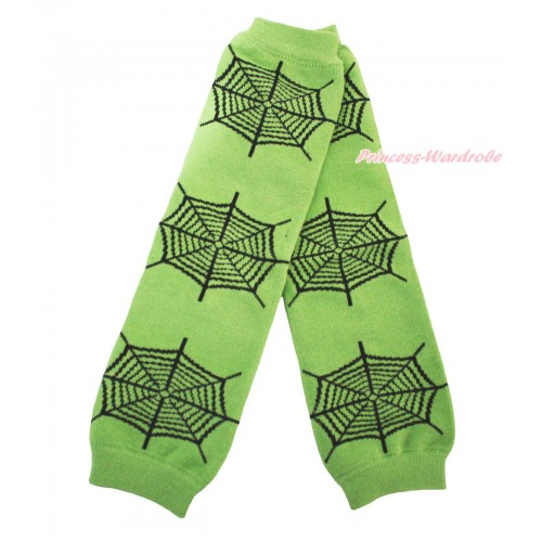 Halloween Newborn Baby Green Black Spider Web Leg Warmers Leggings LG294