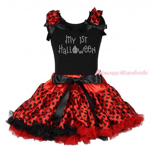 Halloween Black Tank Top Red Black Dots Ruffles Black Bows & Sparkle Rhinestone My 1st Halloween & Red Black Dots Pettiskirt MG1787