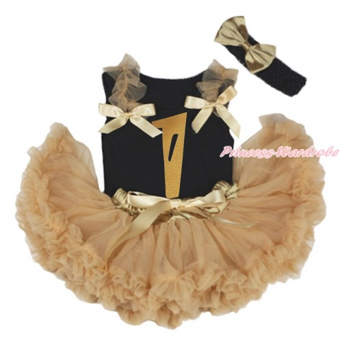 Black Baby Pettitop Goldenrod Ruffles & Bows & 1st Sparkle Gold Birthday Number Painting & Goldenrod Newborn Pettiskirt NG1790