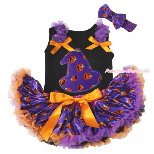 Halloween Black Baby Pettitop Dark Purple Ruffles Orange Bows & Purple Pumpkin Hat Print & Purple Pumpkin Newborn Pettiskirt NG1792