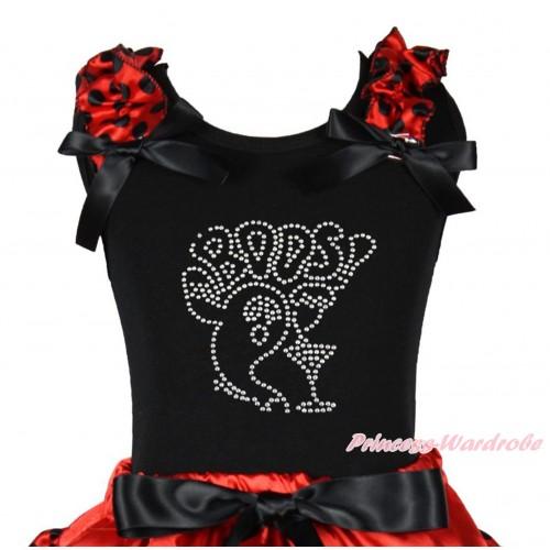 Halloween Black Tank Top Red Black Dots Ruffles Black Bow & Sparkle Rhinestone BOOS! Print TB1261