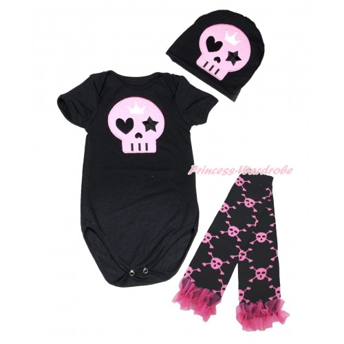 Halloween Black Baby Jumpsuit Light Pink Skeleton Print & Cap & Hot Pink Ruffles Black Pink Skeleton Leg Warmer Set TH621