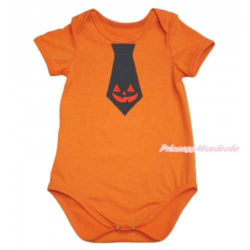 Halloween Orange Baby Jumpsuit & Pumpkin Tie Print TH623