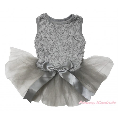 Valentine's Day Grey Romantic Rose Sleeveless Gauze Skirt & Bow Pet Dress DC215