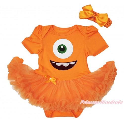 Halloween Orange Baby Bodysuit Pettiskirt & Big Eye Monster Print JS4726