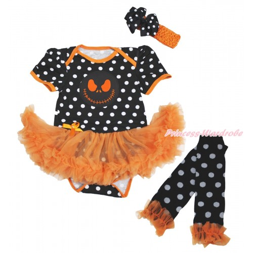 Halloween Black White Dots Bodysuit Orange Pettiskirt & Nightmare Before Christmas Jack Print & Headband & Warmers Leggings JS4727