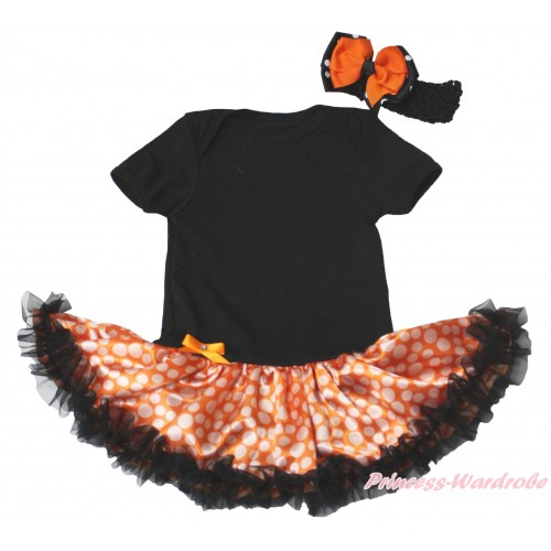 Black Baby Bodysuit Orange White Dots Black Pettiskirt JS4733