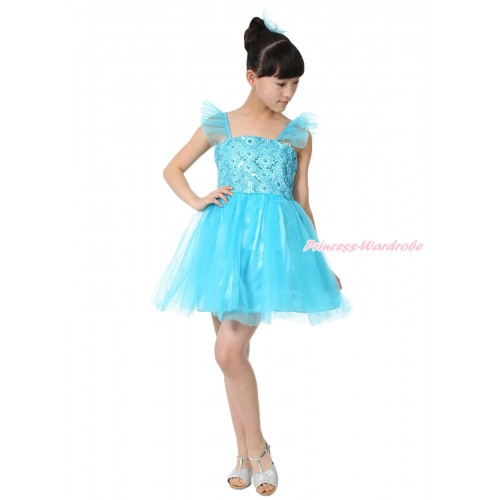 Blue Sparkle Rosettes Dress Up Dance Party Dress LP219