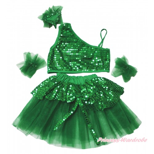 Kelly Green Sparkle Sequins Top with Dress Up Dance Pettiskirt Set LP222