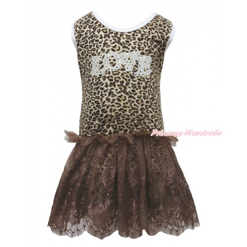 Valentine's Day Leopard Sleeveless Brown Lace ONE-PIECE Party Dress & Sparkle White LOVE Print LP228