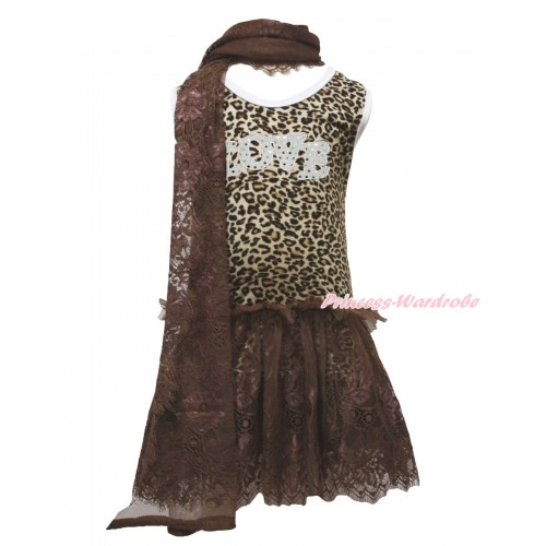 Leopard Sleeveless Brown Lace ONE-PIECE Scarf Party Dress Set & Sparkle White LOVE Print LP230