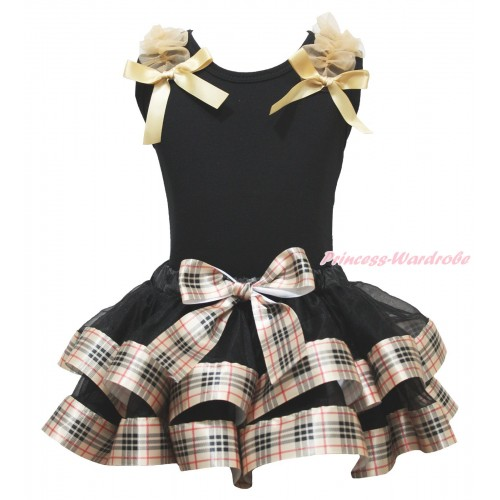 Black Baby Pettitop Goldenrod Ruffles & Bow & Black Gold Black Checked Trimmed Baby Pettiskirt NG1808