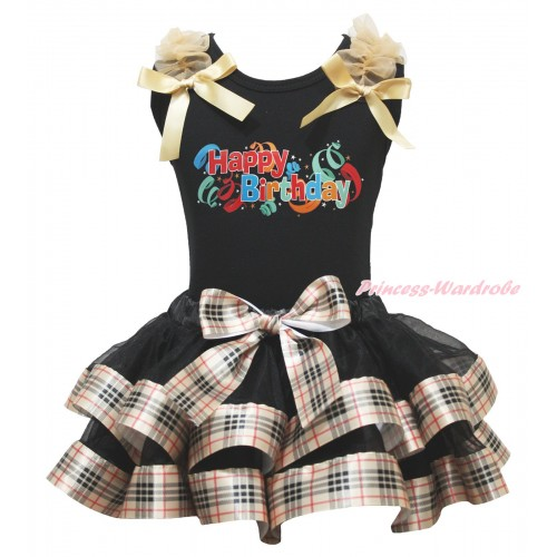 Black Baby Pettitop Goldenrod Ruffles & Bows & Happy Birthday Painting & Black Gold Black Checked Trimmed Newborn Pettiskirt NG1823