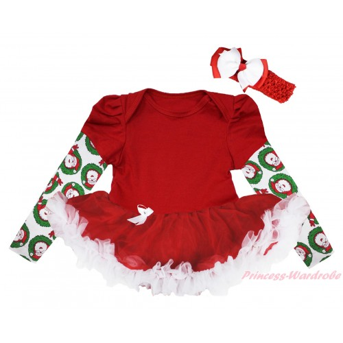 Christmas Max Style Long Sleeve Red Baby Bodysuit Red White Pettiskirt JS4846