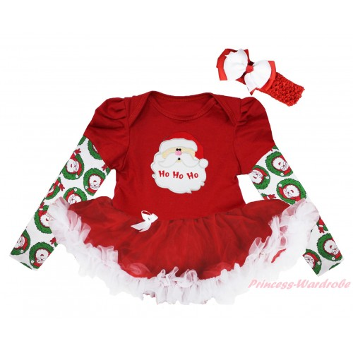 Christmas Max Style Long Sleeve Red Baby Bodysuit Red White Pettiskirt & Santa Claus Print JS4849