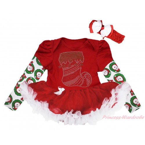 Christmas Max Style Long Sleeve Red Baby Bodysuit Red White Pettiskirt & Sparkle Rhinestone Christmas Stocking Print JS4851