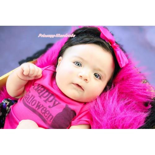 Black Headband Hot Pink Silk Bow Hair Clip H1043