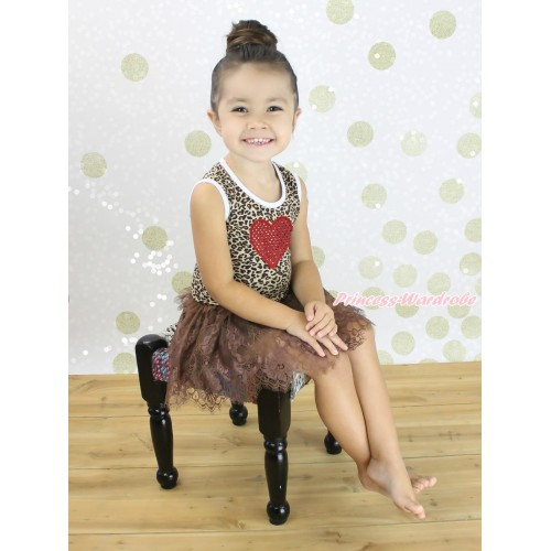 Valentine's Day Leopard Sleeveless Brown Lace ONE-PIECE Party Dress & Sparkle Red Heart Print LP234