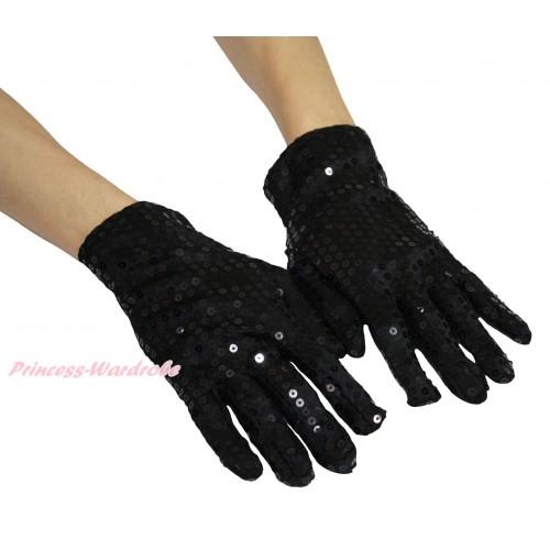 Black Sparkle Bling Sequins Adult Gloves Party Costume C423